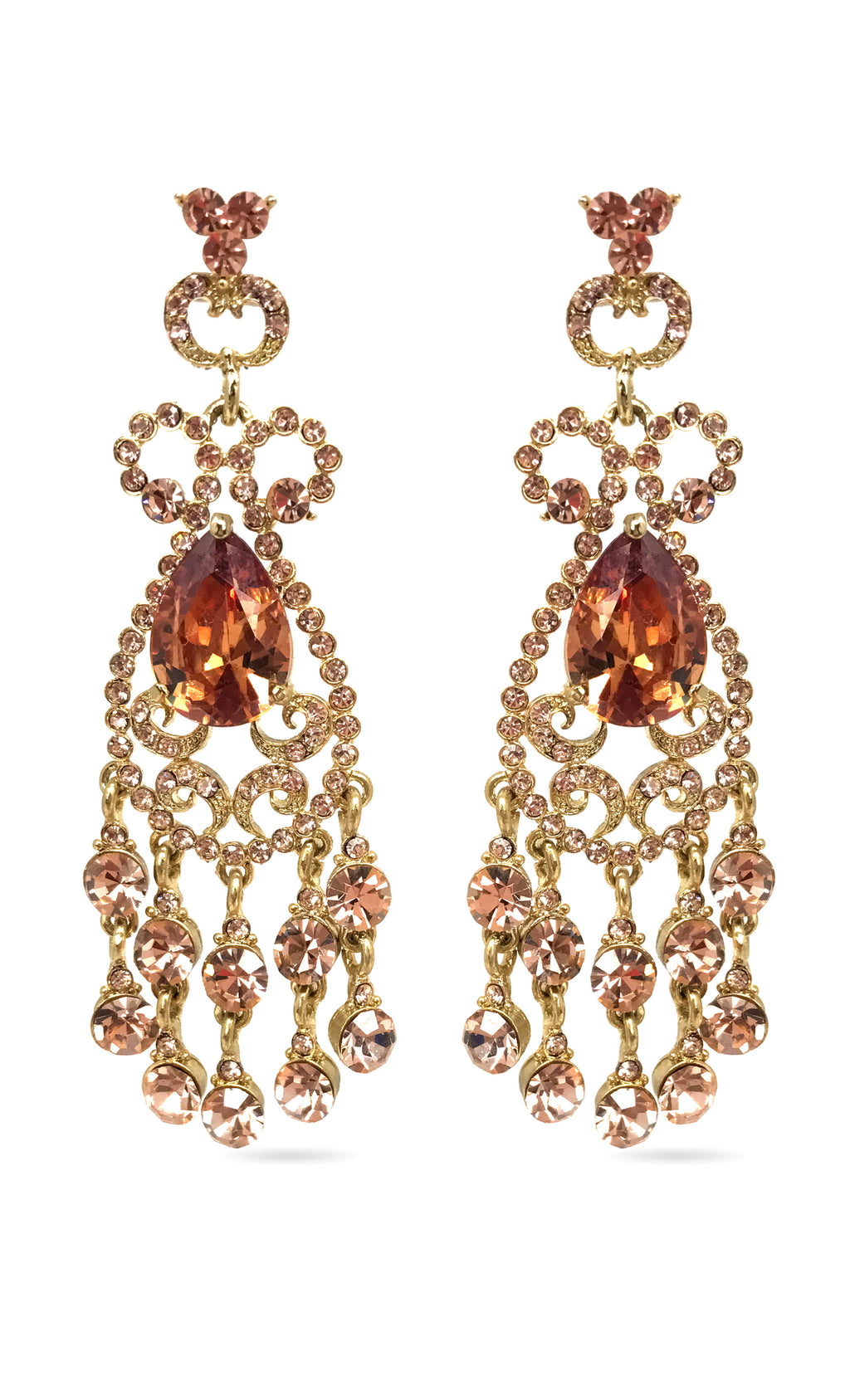 Taj Mahal Gold Plated Citrine Orange Swarovski Crystal Rhinestone Fringe Chandelier Earrings