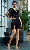 Know Your Worth Black Fringe Tassel Pearl Bead Short Sleeve V Neck Keyhole Back Mini Dress
