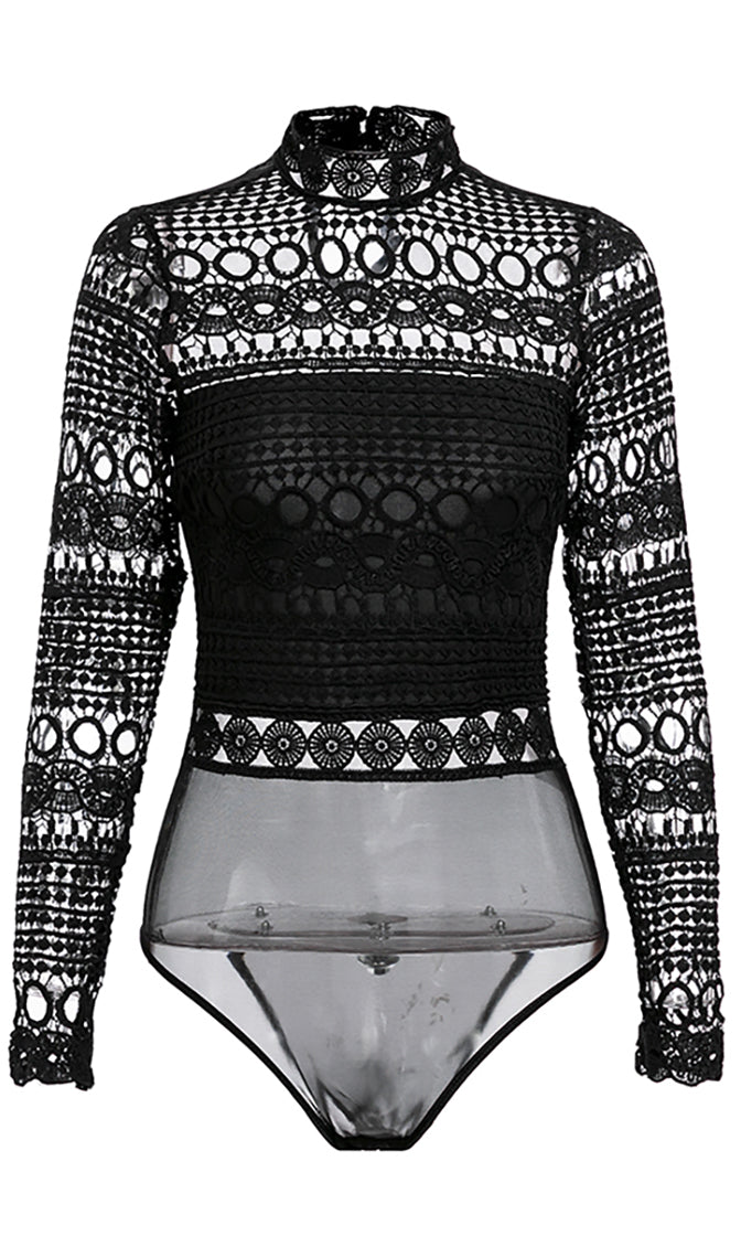 Hearts Are Racing Black Sheer Mesh Hollow Embroidery Long Sleeve Mock Neck Bodysuit Top