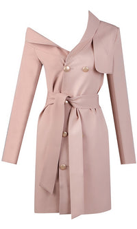 Bad Habits Long Sleeve Double Breasted Button Asymmetric Collar Tie Belt Trench Coat Outerwear - Sold Out