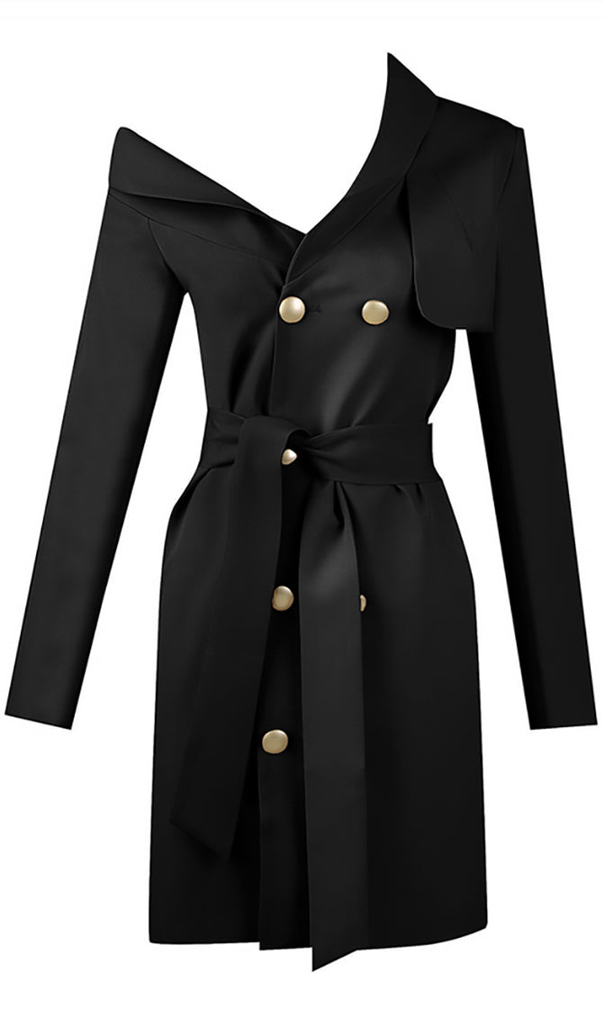 Bad Habits Long Sleeve Double Breasted Button Asymmetric Collar Tie Belt Trench Coat Outerwear - 2 Colors Available