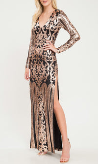Retro Lover Rose Gold Black Floral Geometric Pattern Long Sleeve V Neck Side Slit Maxi Dress - Sold Out