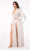 Bad Blood White Lace Long Sleeve Plunge V Neck Double Front Slit Maxi Dress - Sold Out