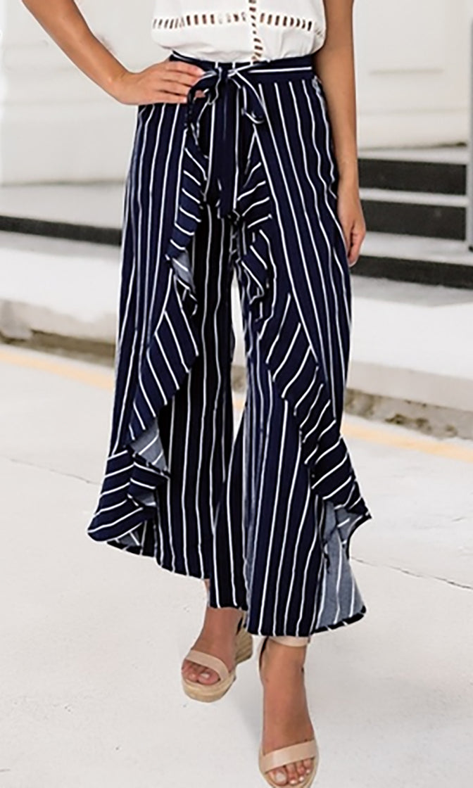 Seaside Sophistication Vertical Stripe Pattern Ruffle Tie Waist Wide Leg Loose Pants - 2 Colors Available - Sold Out