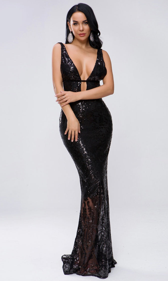 Hollywood Lover Black Sequin Velvet Sheer Mesh Sleeveless Plunge V Neck Cut Out Maxi Dress