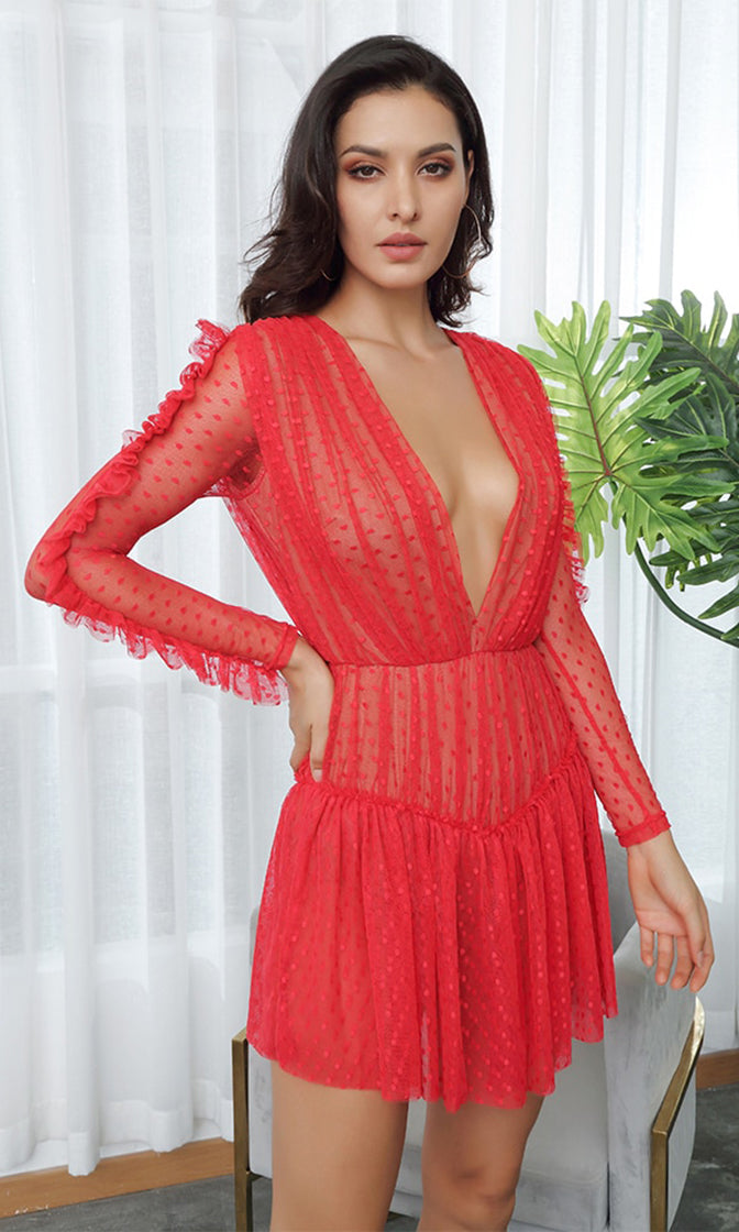 Sweet Vixen Red Sheer Mesh Swiss Dot Lace Long Sleeve Plunge V Neck Ruffle Casual Mini Dress