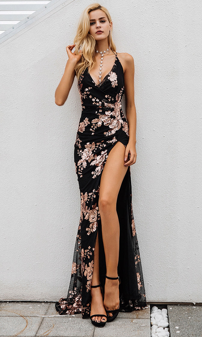 All Night Love Black Sleeveless Spaghetti Strap Sequin Floral Pattern Ruched V Neck Backless Side Slit Maxi Dress - 2 Colors Available