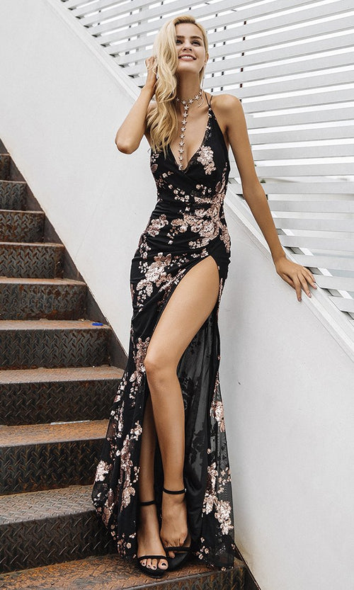 All Night Love Sleeveless Spaghetti Strap Sequin Floral Pattern Ruched V Neck Backless Side Slit Maxi Dress - 2 Colors Available