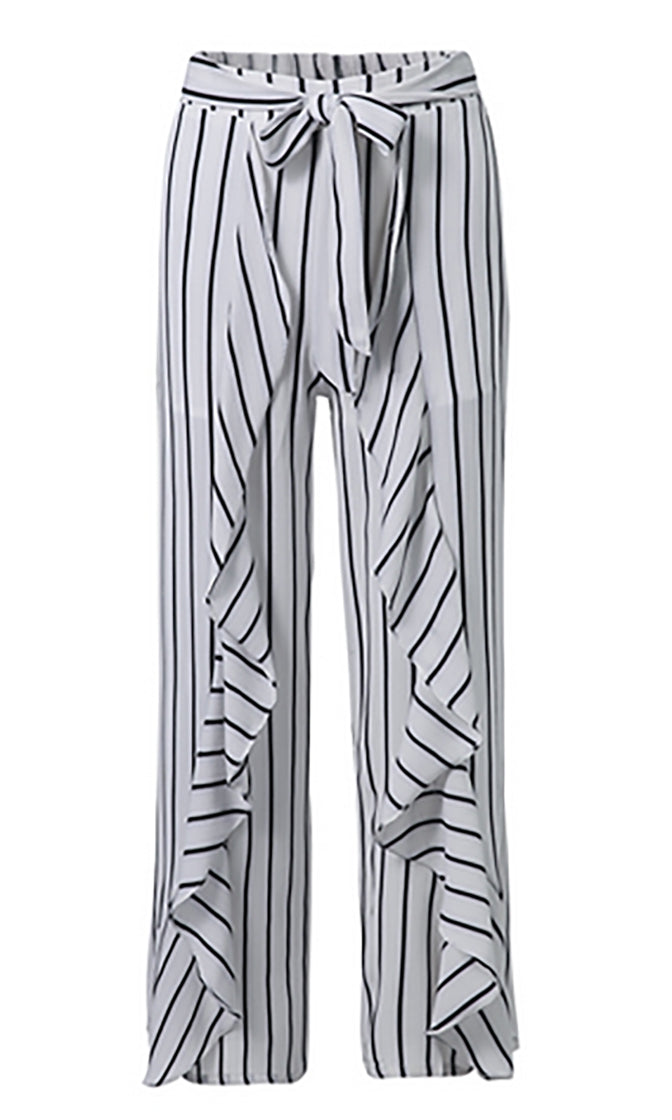 Seaside Sophistication Vertical Stripe Pattern Ruffle Tie Waist Wide Leg Loose Pants - 2 Colors Available