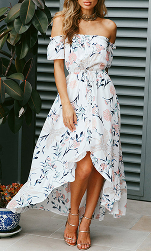 Love Lies White Floral Pattern Short Sleeve Off The Shoulder Ruffle High Low Casual Maxi Dress
