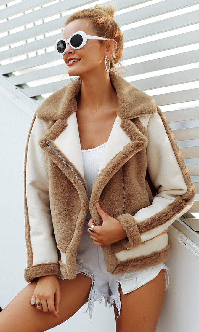 She Wants Love Light Brown White Faux Fur Long Sleeve Colorblock Motorcycle Jacket Outerwear
