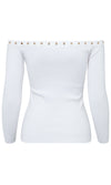 Commanding Attention White Long Sleeve Pattern Ribbed Off The Shoulder Grommet Pullover Sweater - Sold Out