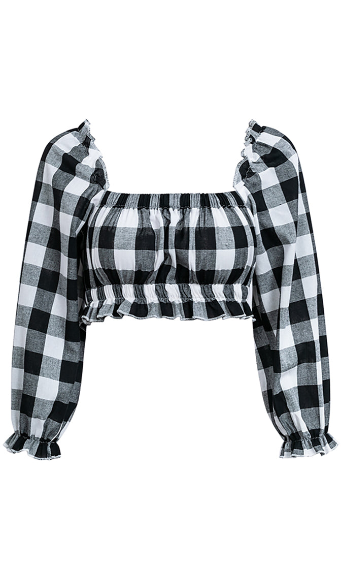 Ready To Flirt Black Gray Plaid Pattern Long Sleeve Ruffle Square Neck Elastic Crop Top Blouse