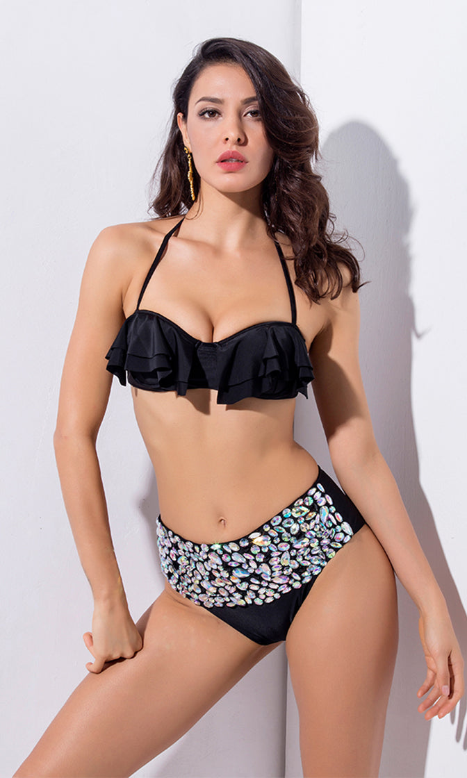 Amity Island Black Rhinestone Ruffle Halter High Waist Brazilian Two Piece Bikini Swimsuit
