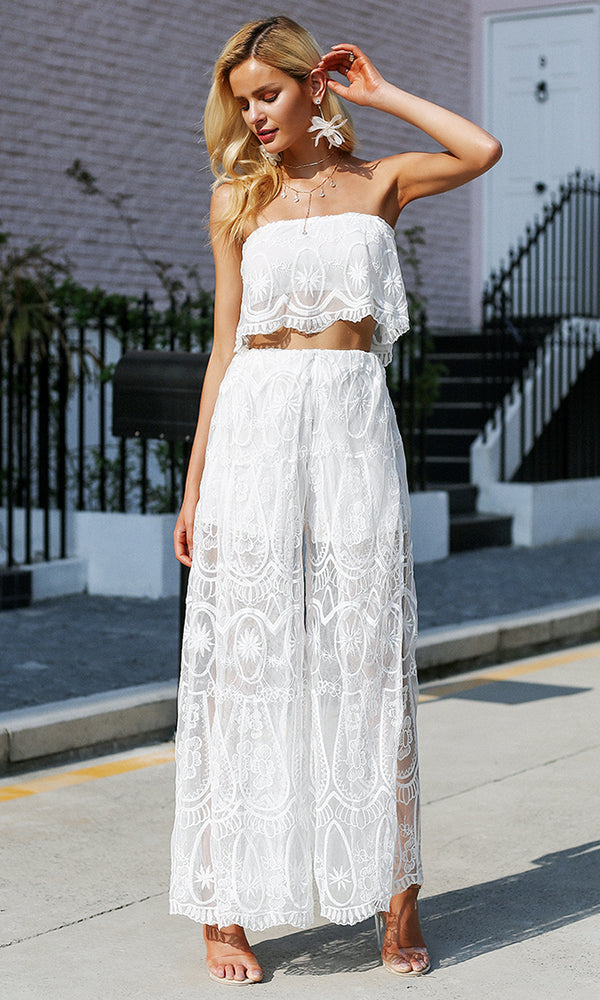Lust For Me White Sheer Mesh Lace Strapless Scallop Crop Top Wide Leg Loose Pant Two Piece Jumpsuit