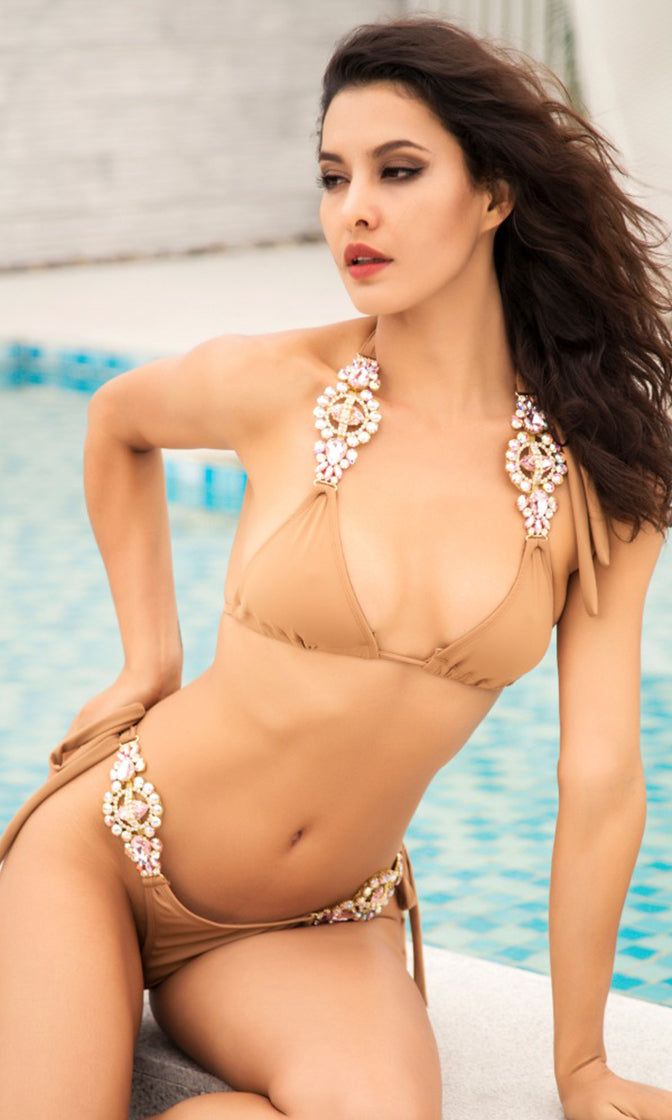 Beach Escape Nude Crystal Rhinestone Spaghetti Strap Triangle Top Tie Side Bikini Two Piece Swimsuit