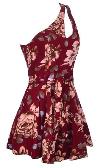 Just Right Burgundy Wine Beige Blue Brown Floral Cut Out One Shoulder Tie-Waist Romper Playsuit - Last One!
