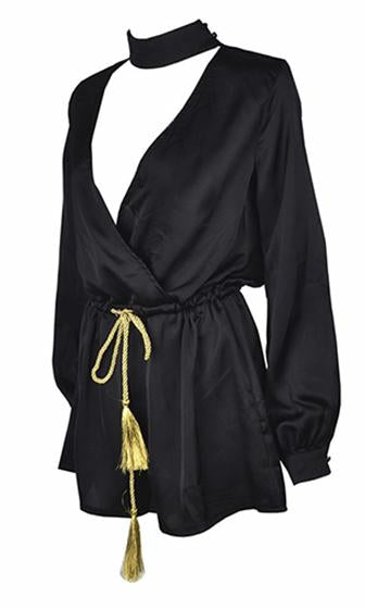 Up In Flames Black Gold Long Sleeve Cross Wrap V Neck Tassel Tie Belt Romper