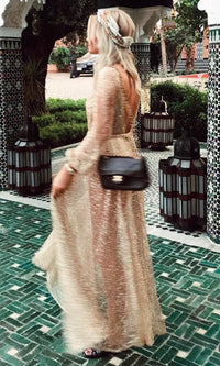 Get Up And Glimmer Sheer Mesh Gold Glitter Long Sleeve Plunge V Neck Maxi Dress - Sold Out