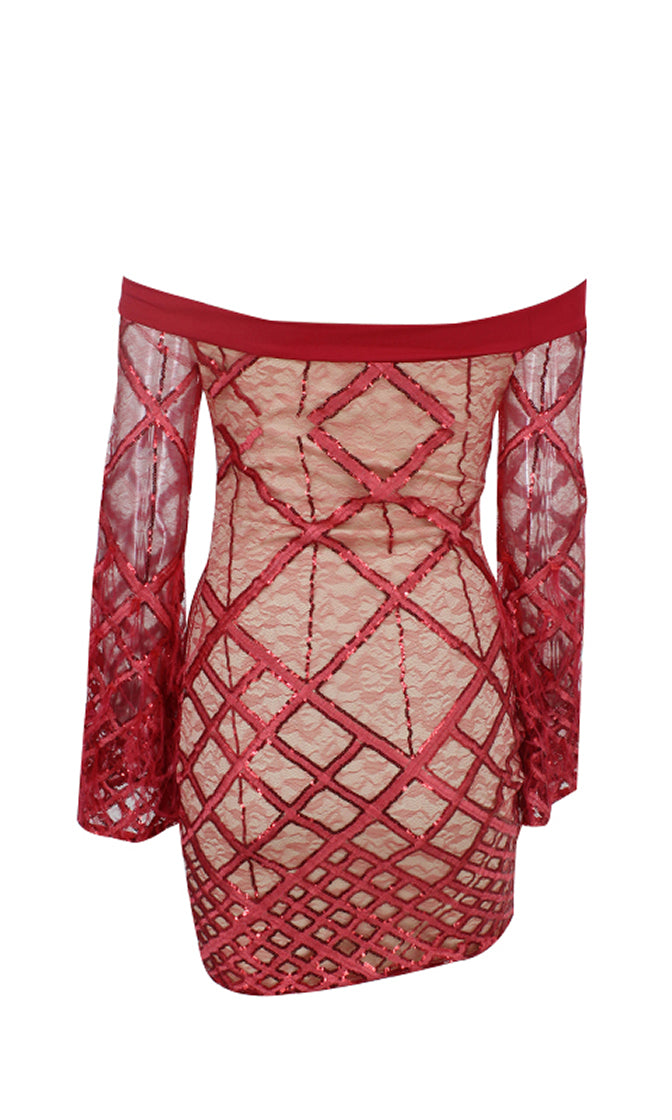 Disorderly Conduct Red Long Bell Sleeve Off the Shoulder Lace Diamond Geometric Pattern Sequin Feather Bodycon Mini Dress