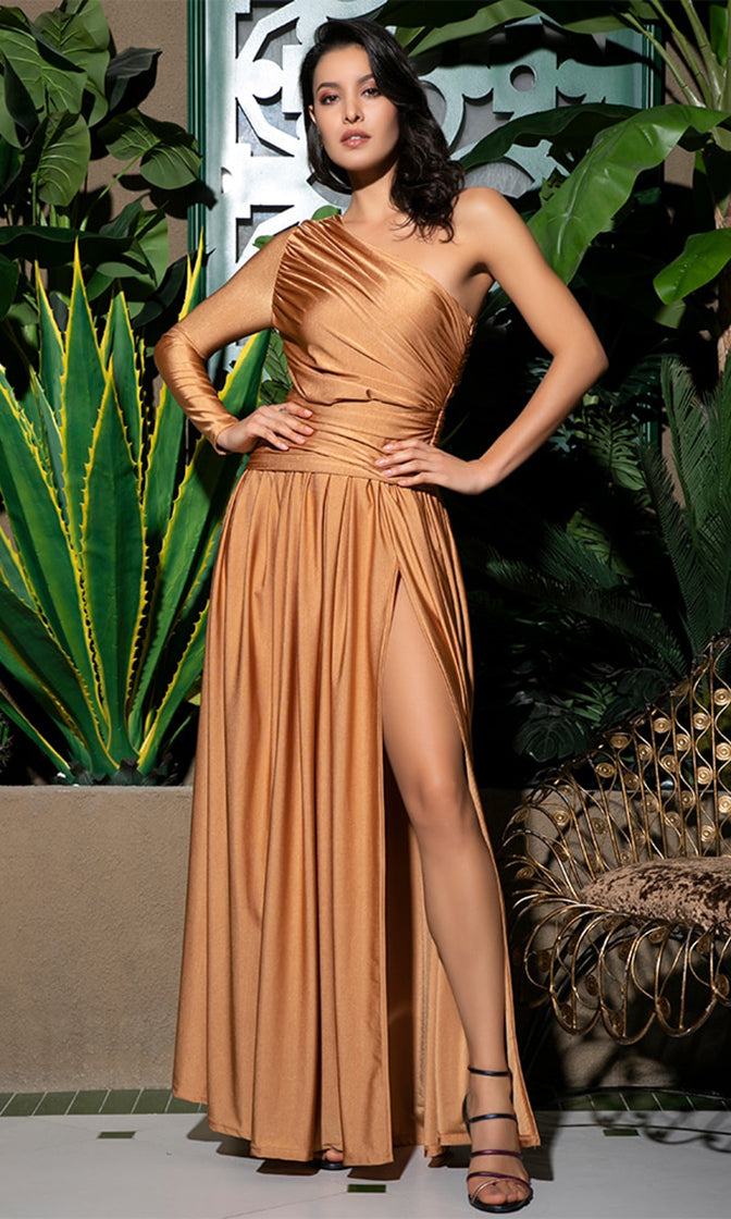 Totally Glamorous Orange One Shoulder Long Sleeve Ruched Front Slit Maxi Dress Gown