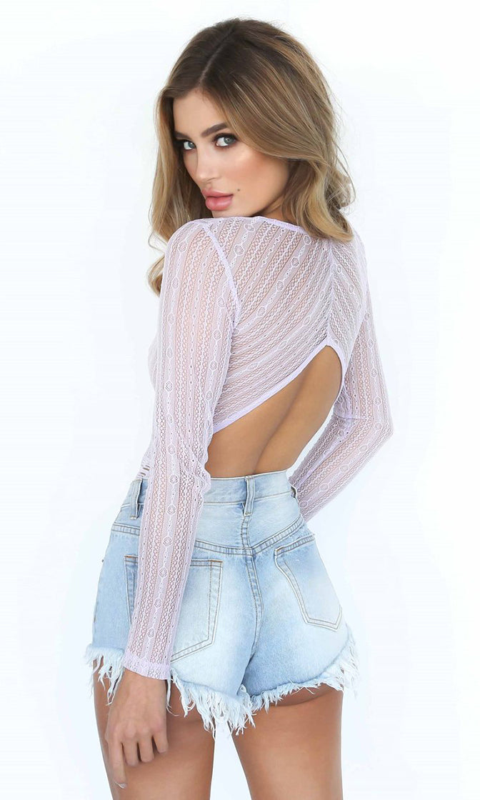 Whispers And Lies Light Pink Sheer Mesh Lace Long Sleeve V Neck Cut Out Back Bodysuit Top