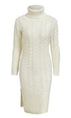 Warming Things Up Long Sleeve Cable Knit Ribbed Turtleneck Casual Midi Sweater Dress