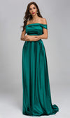 Lead Me On Emerald Green Satin Cap Sleeve Fold Over Off The Shoulder A Line Maxi Dress
