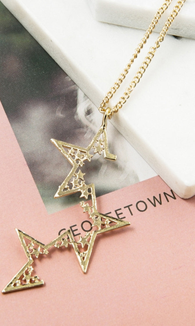 Starlight Shine Gold Chain Open Star Geometric Pendant Necklace - Sold Out