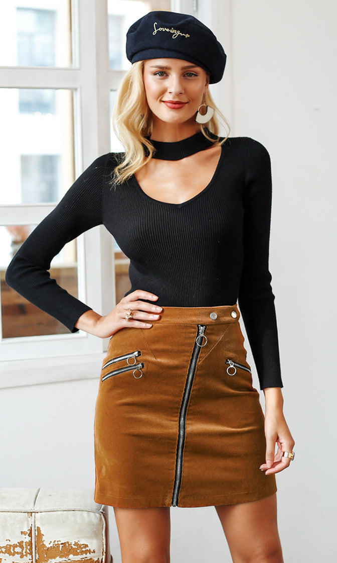 Art Gallery Brown Corduroy High Waist Asymmetric Zipper Mini Skirt