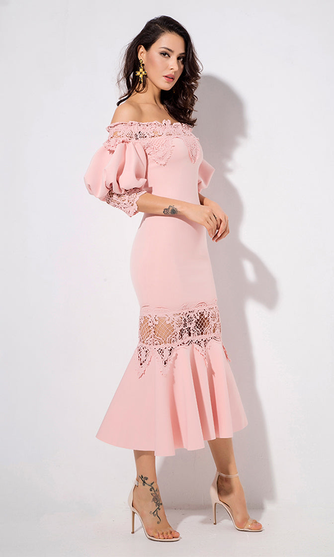 Get You Back Pink 3/4 Lantern Sleeve Lace Trim Off The Shoulder Fishtail Bodycon Midi Dress