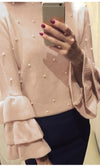 Miss Priss Peach Pearl Trim Long Tiered Sleeves Round Neck Pullover Sweater