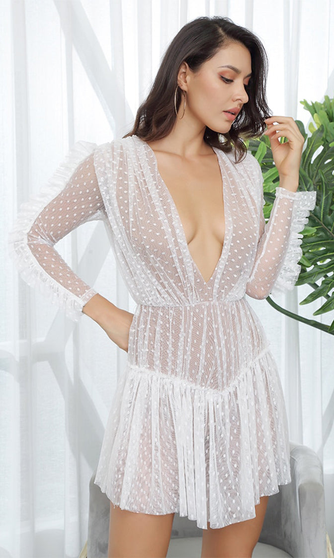 Sweet Vixen White Sheer Mesh Swiss Dot Lace Long Sleeve Ruched Plunge V Neck Ruffle Casual Mini Dress
