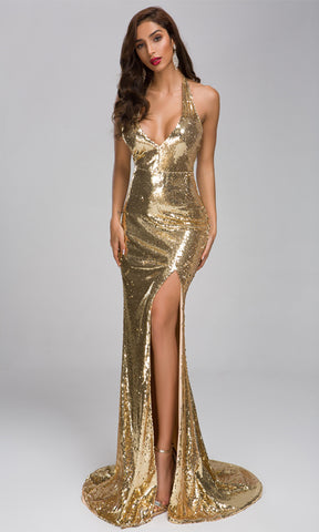 Evening Lights Gold Floral Glitter Sleeveless Spaghetti Strap Plunge V Neck Fit and Flare Maxi Dress