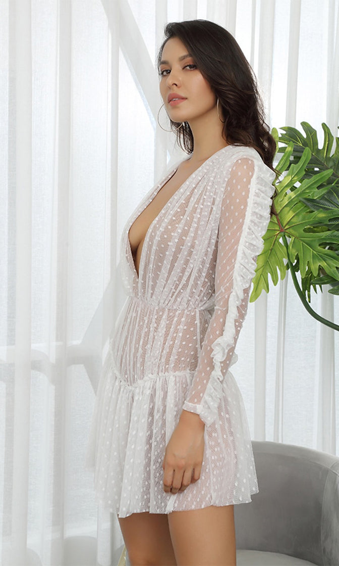 Sweet Vixen White Sheer Mesh Swiss Dot Lace Long Sleeve Plunge V Neck Ruffle Casual Mini Dress