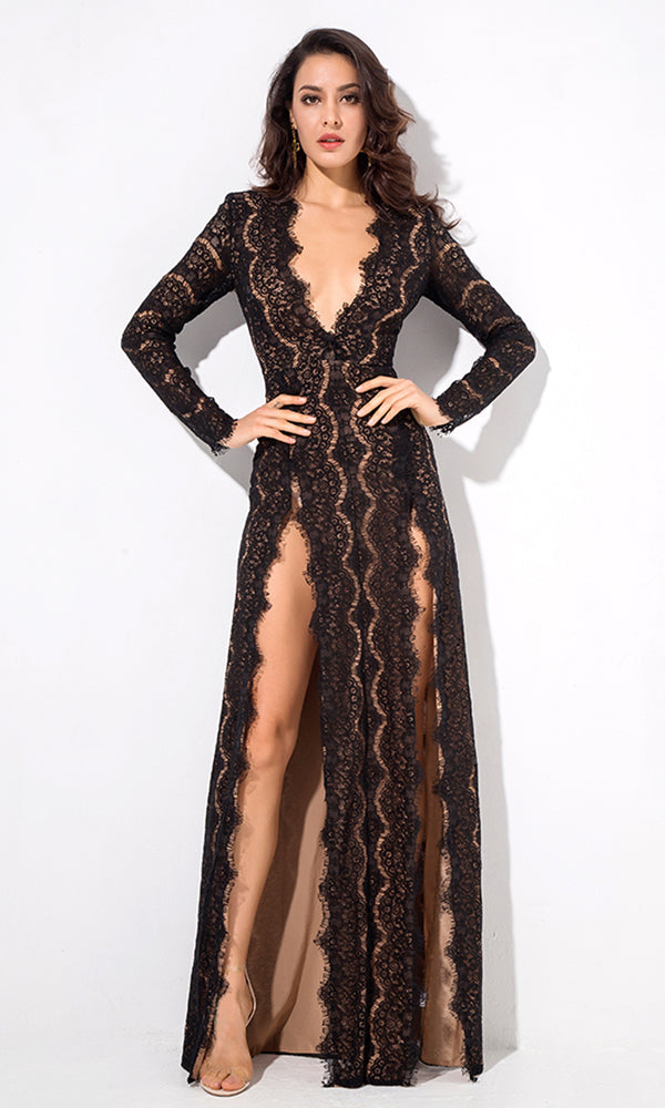 Bad Blood Black Lace Long Sleeve Plunge V Neck Double Front Slit Maxi Dress