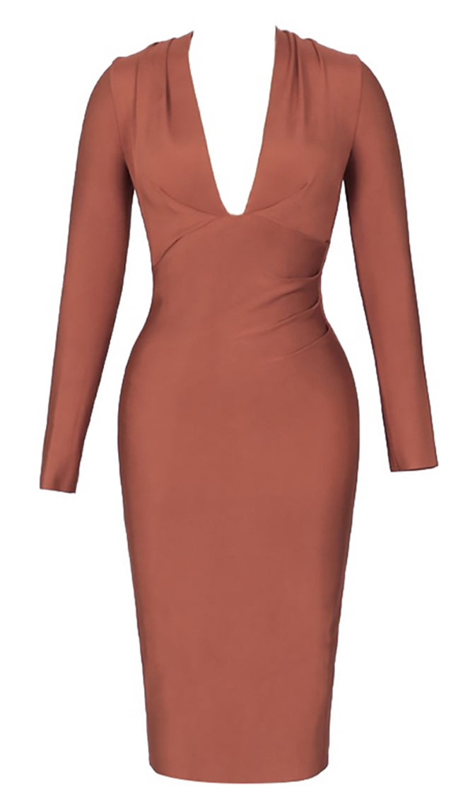 Never Afraid Brown Long Sleeve Plunge V Neck Bodycon Bandage Midi Dress