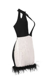 Ready To Rumba Black Silver Glitter Feather Sleeveless Cut Out Halter Bodycon Bandage Mini Dress