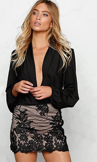 Wild Nights Black Long Slit Sleeve Plunge V Neck Bodysuit Blouse - Sold Out