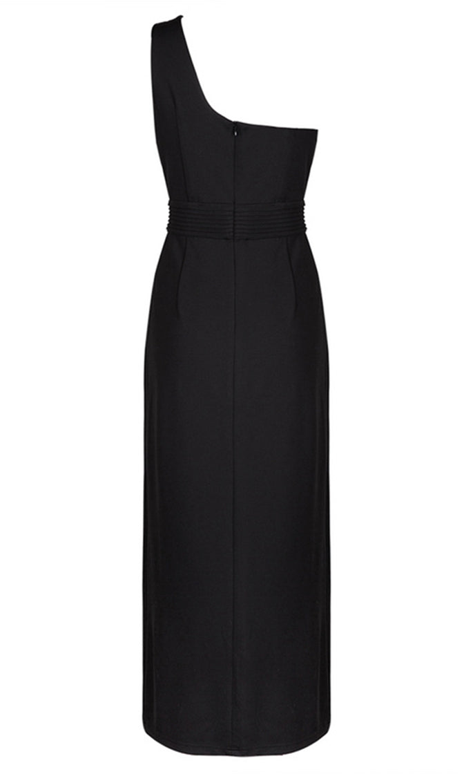 She's Everything Black Sleeveless One Shoulder High Slit Bodycon Maxi Dress - Inspired by Karlie Kloss - Sold Out