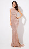 All About Glamour Champagne Sequin Sleeveless Mock Neck Cut Out Sides Fishtail Mermaid Maxi Dress