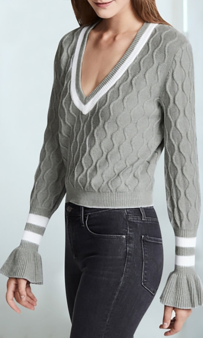 Varsity Blues Long Flare Sleeve Stripe Trim V Neck Pattern Pullover Sweater - 2 Colors Available