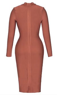 Never Afraid Brown Long Sleeve Plunge V Neck Bodycon Bandage Midi Dress - Sold Out