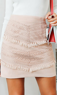 On The West Side Faux Suede Embroidery Tassel Bodycon Mini Skirt - 2 Colors Available - Sold Out