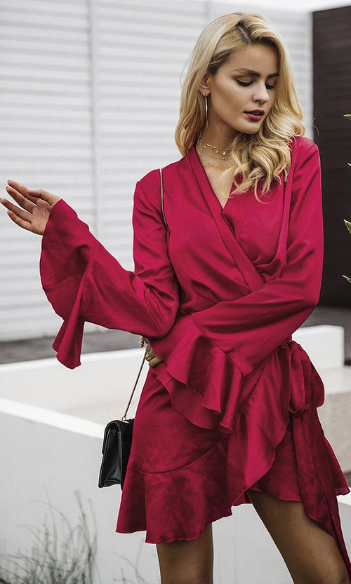 Always A Romantic Satin Long Flare Sleeve Cross Wrap V Neck Casual Ruffle Mini Dress - 4 Colors Available