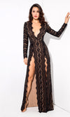 Bad Blood Black Lace Long Sleeve Plunge V Neck Double Front Slit Maxi Dress - Sold Out