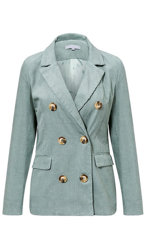 Suiting Up Corduroy Double Breasted Blazer Jacket Crop Pant Two Piece Suit Set - Sold Out