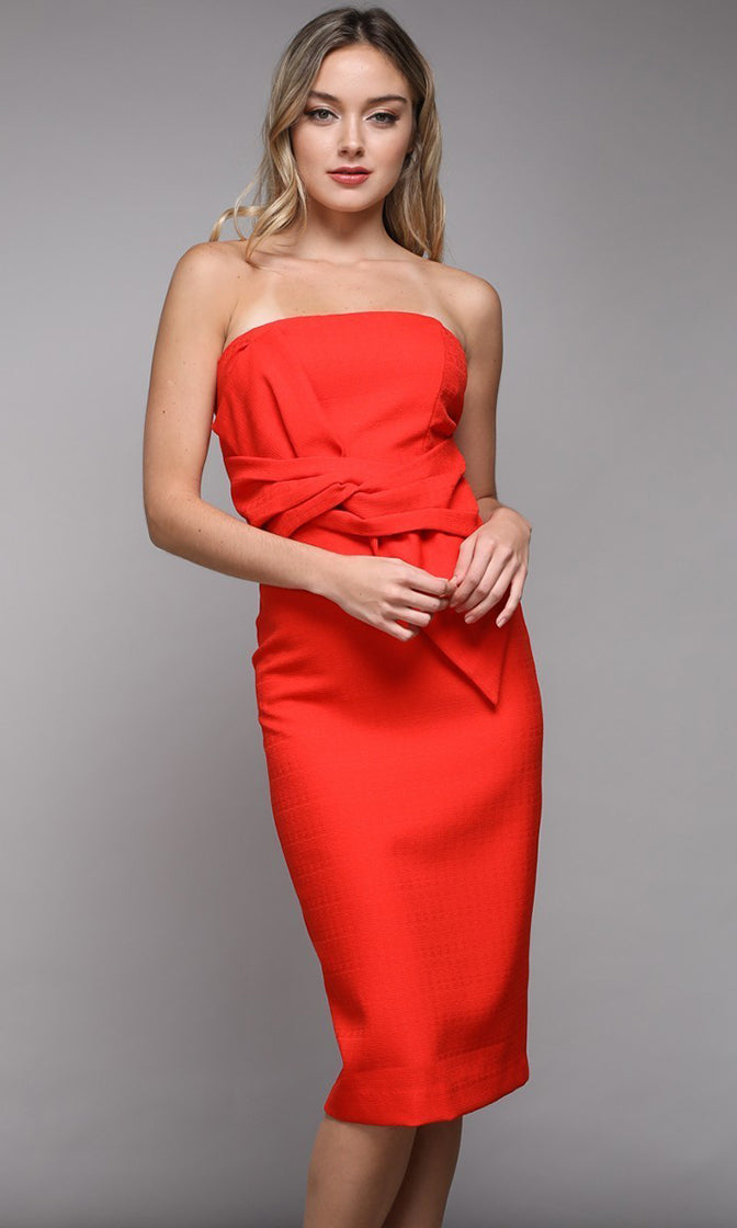 Double Edged Sword Strapless Twist Belt Bodycon Midi Dress - 3 Colors Available
