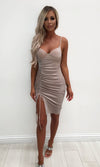 Wild Tonight Silver Glitter Sleeveless Spaghetti Strap V Neck Ruched Slit Bodycon Midi Dress - Sold Out