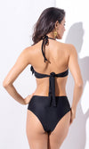 Amity Island Black Rhinestone Ruffle Halter High Waist Brazilian Two Piece Bikini Swimsuit - Sold Out
